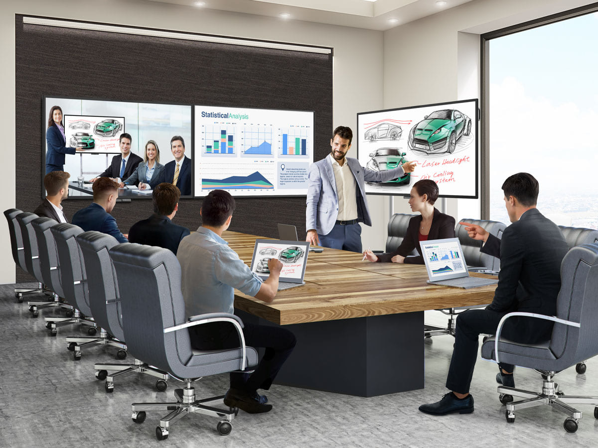 BenQ corporate displays provide face-to-face interactions through video conferencing and board-to-board collaboration.