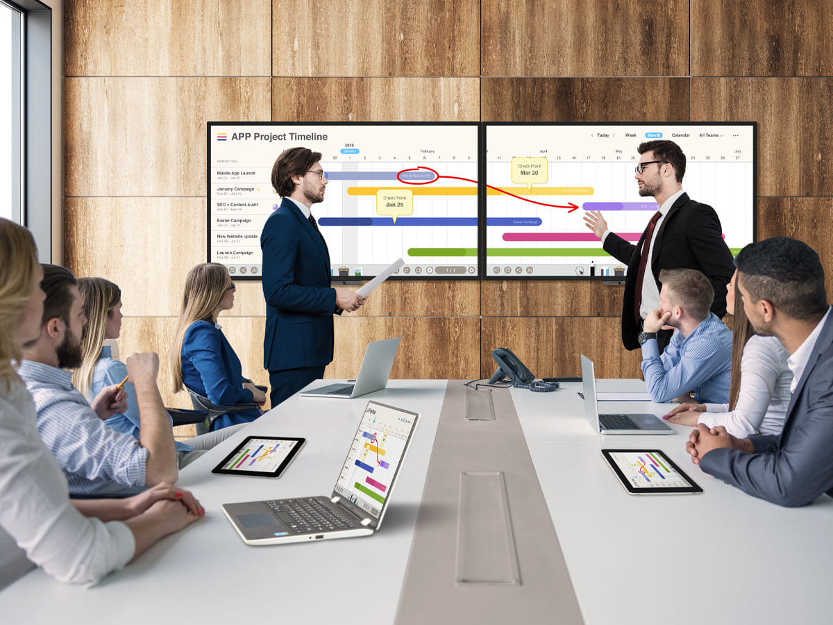 BenQ DuoBoards expand creative space via EZWrite to simultaneously conference and collaborate.