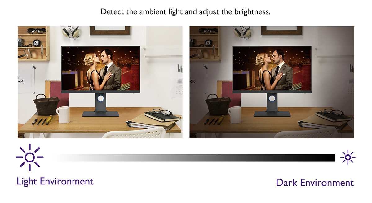 detective the ambient light and adjust the brightness, the best choice of the  eye care monitor.