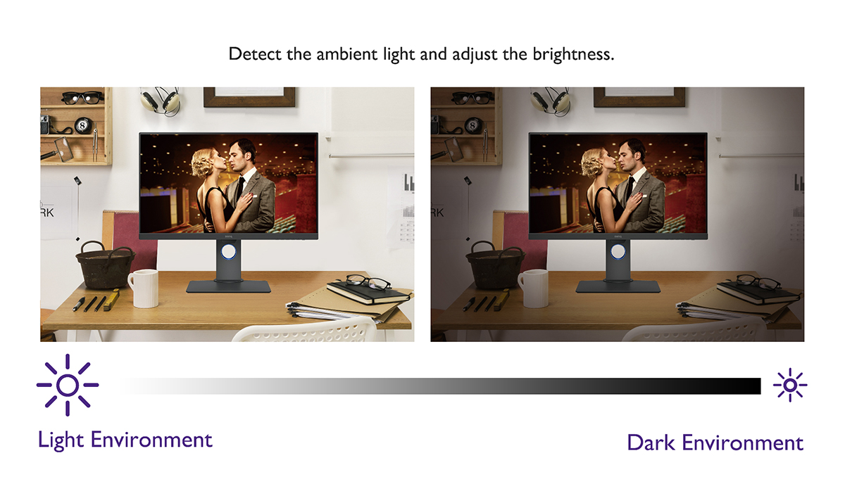BenQ eye care monitors are with Brightness Intelligence Technology adjusting screen brightness per ambient light.