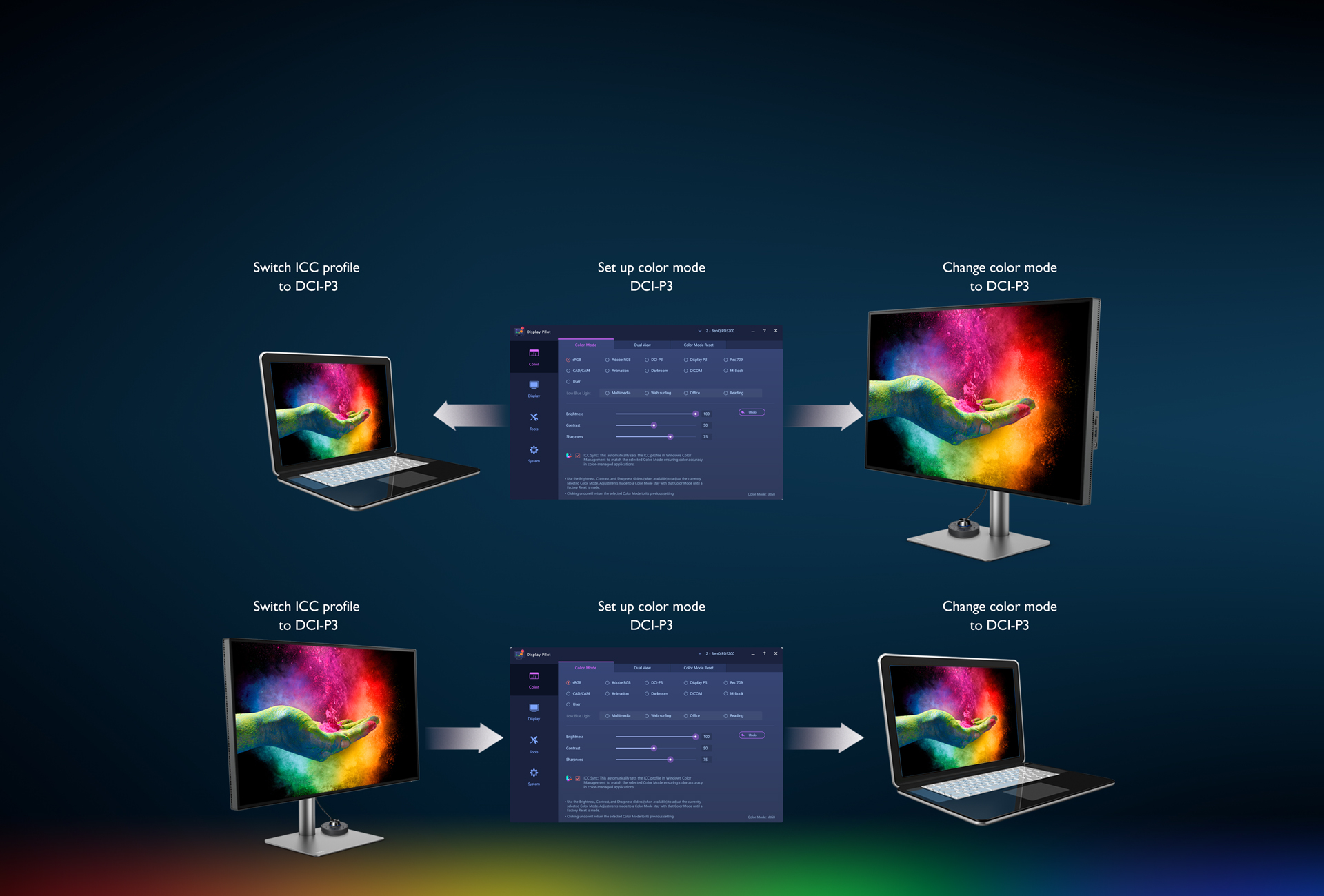 BenQ 4K USB-C Monitor for Macbook Pro PD3220U helps designers effortlessly complete the steps of matching the ICC profiles between monitors and computers.