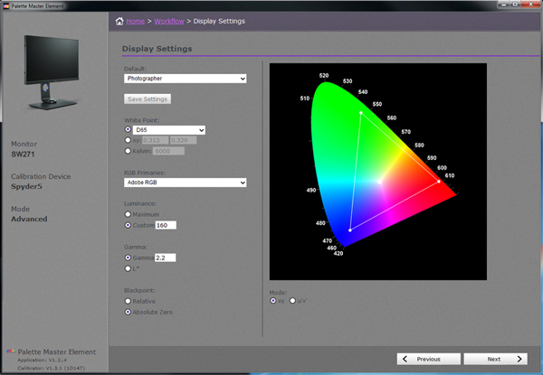 With the use of Palette Master Element and a calibrator, you can tune and maintain the color performance of the monitor at its most optimal state.