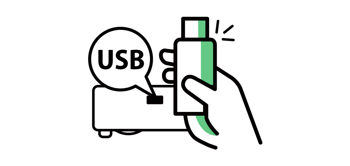 USB supporting a wide range of file formats including JPEG, PDF, Microsoft Word, Excel, PowerPoint files