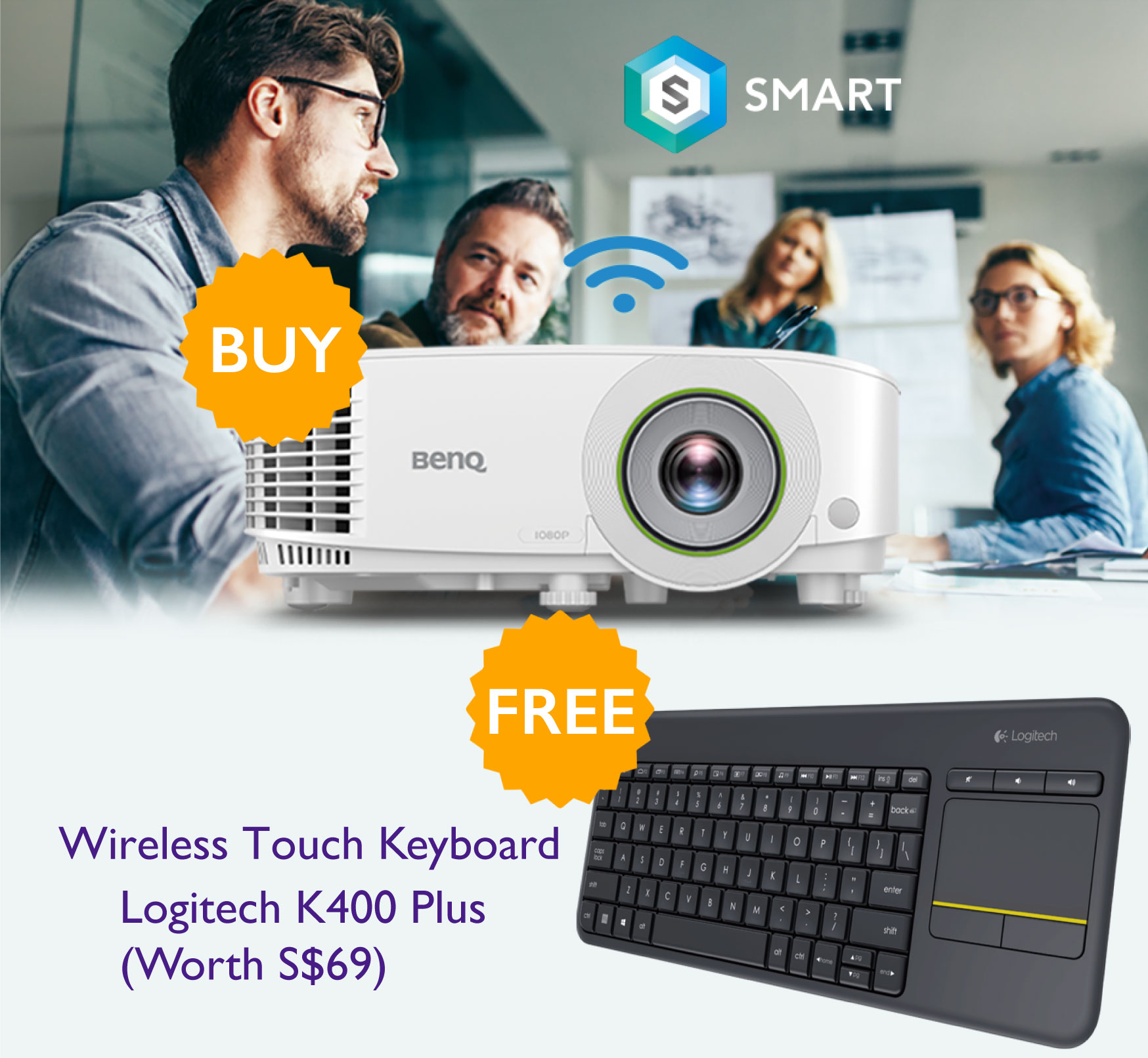 Buy BenQ Smart Projector and get FREE Logitech wireless touch keyboard