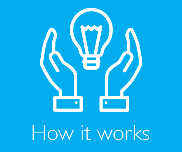 "Two Hands holding a lightbulb with ""How it Works"" written below"
