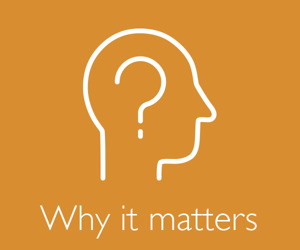 "a profile of an ambiguous head with a question mark where the brain should be with ""why it matters"" written below the icon"