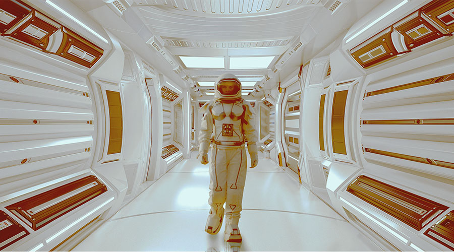 a spaceman in a spaceship in the style of Stanley Kubrick's 2001 A Space Odyssey