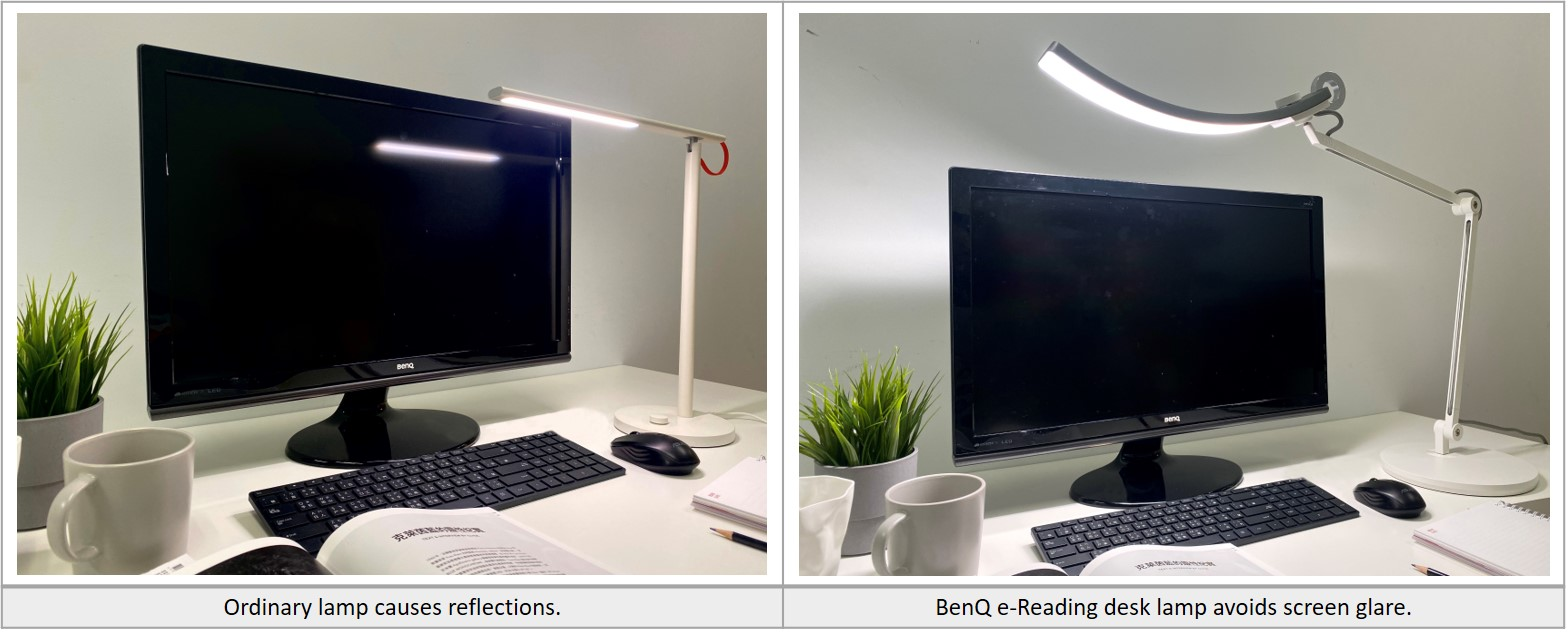 What are the differences between the BenQ e-Reading desk lamp and the lamp on your desk?