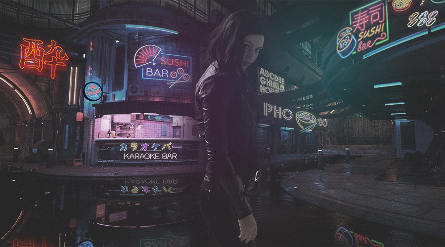 a woman in the streets of neon in the style of classic movie blade runner