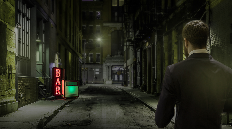 A man walking in a dark street towards a bar in the style of movie dark city