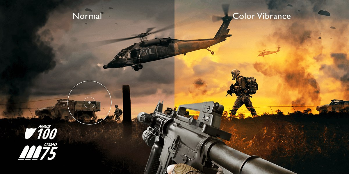 BenQ Color Vibrance helps you identify enemy targets in your games.