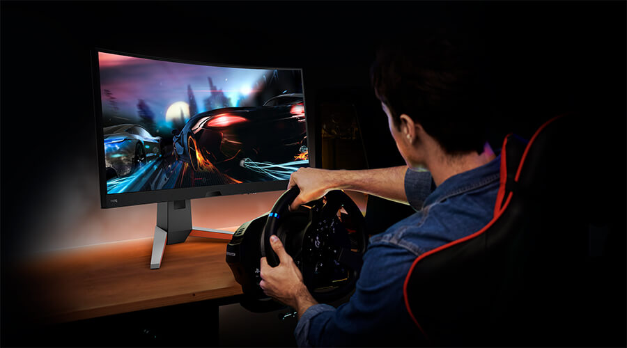 BenQ MOBIUZ curved monitors wrap up the vision and sound, providing gamers with more immersive racing, as if in the real-world.