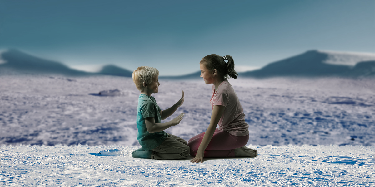 two kids sitting and playing on the ice in the style of the series tales from the loop