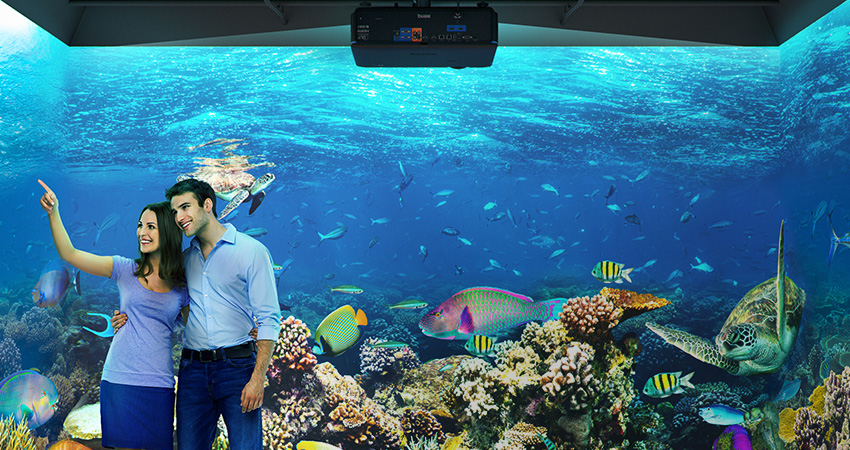 aquarium projected by BenQ's professional installation projectors