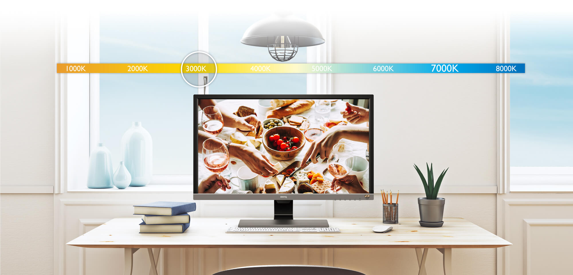 Brightness Intelligence Plus, the ambient light, adjustable monitor brightness and color temperature