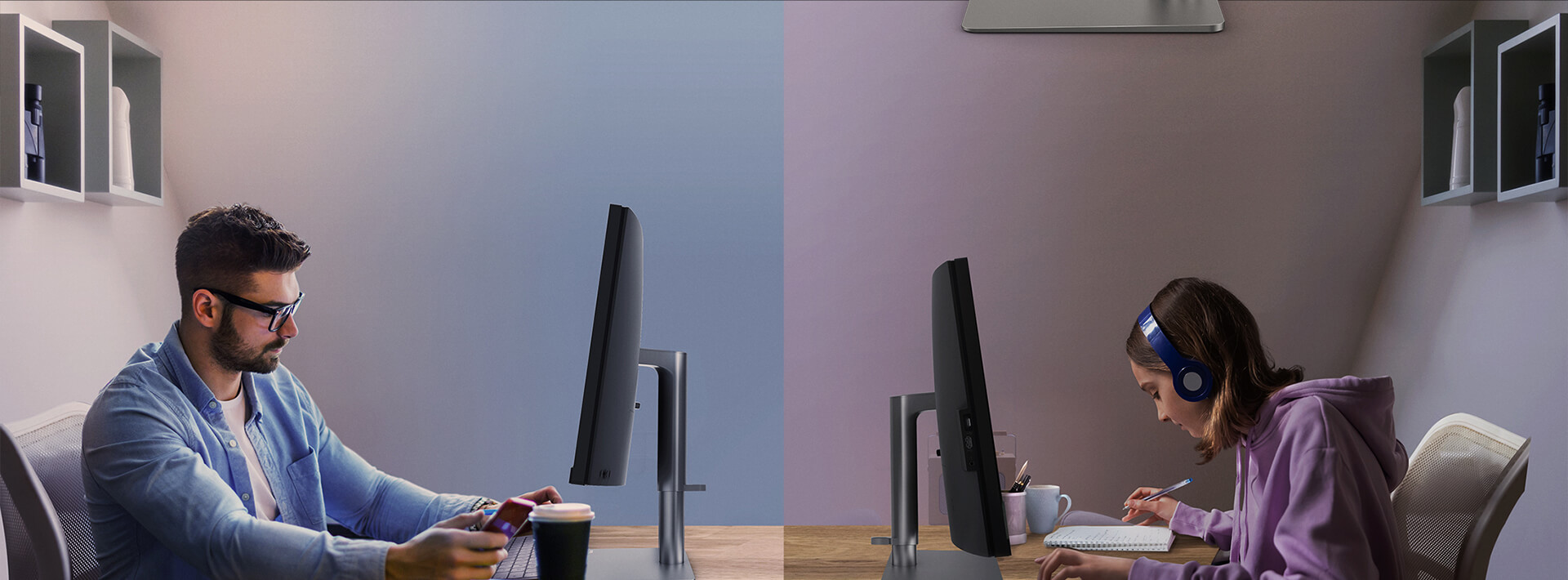 BenQ height adjustable monitors offer flexible height adjustment to bring wider swivel to the right eye level for better ergonomics