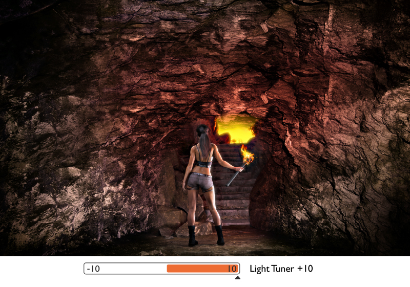 with light tuner you can manually adjust the level based on your preference and get accentuated details in dark caves or spectacular frescoes on walls