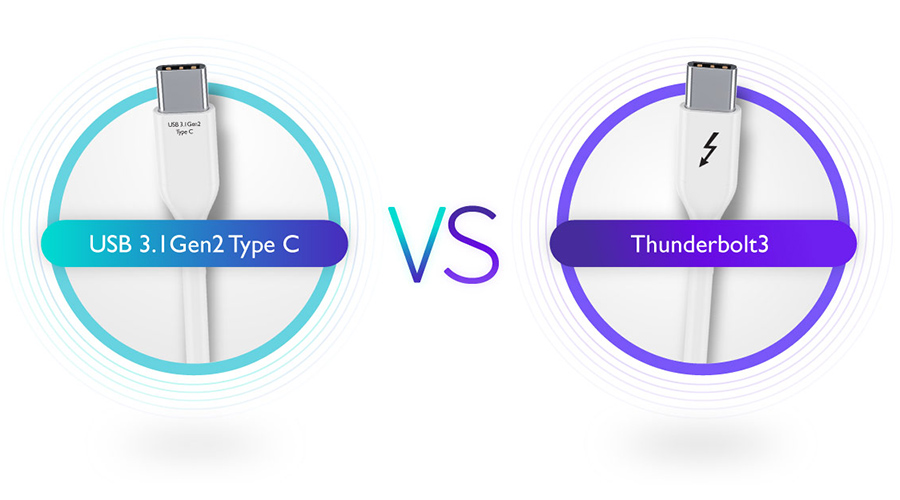 The differences between Thunderbolt 3 and USB 3.1 Gen2 Type C.