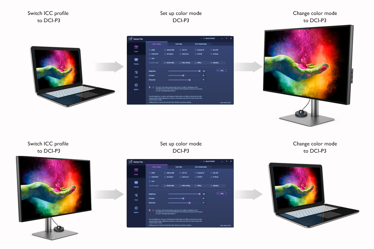 ICCsync through BenQ PD series monitors