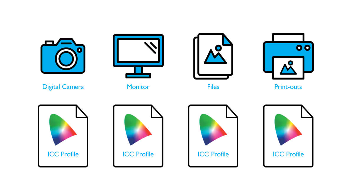 ICC profiles help exhibiting consistent colors in digital camera, computer files, and printer