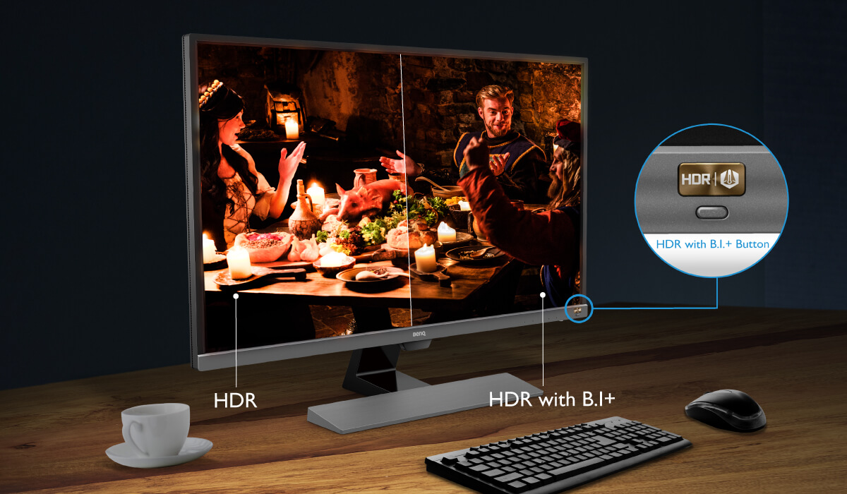 botton of HDR with B.I.+ allowing users to select different clarity based on environments