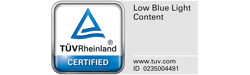 TÜV Rheinland certifies GW2780T's ZeroFlicker, and Low Blue Light as truly friendly to the human eye.