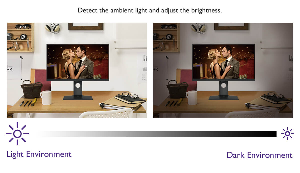 Brightness Intelligence Technology (B.I.Tech.) monitors ambient light in your viewing environment and actively adjusts screen brightness for the most comfortable viewing experience possible.