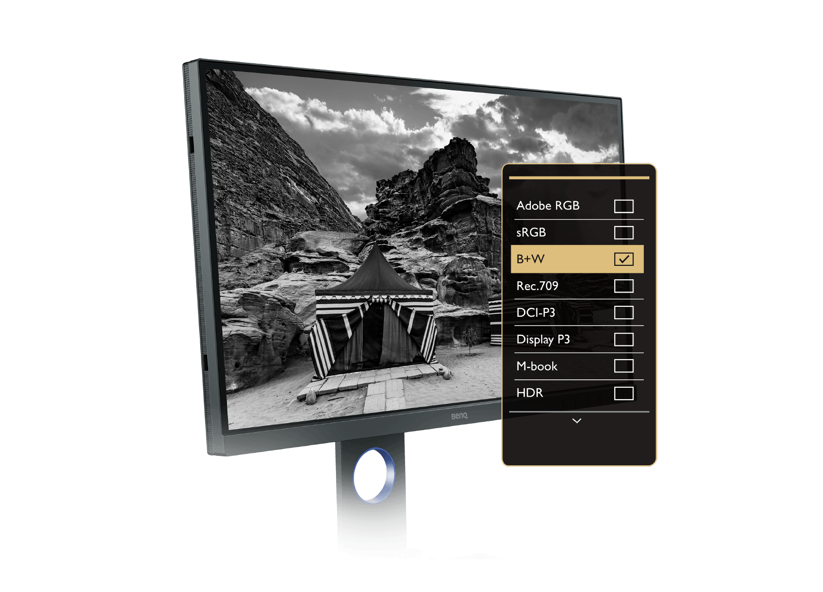 benq photographer monitor provides advanced black & white mode to preview color photos in any of three preset black and white settings before editing