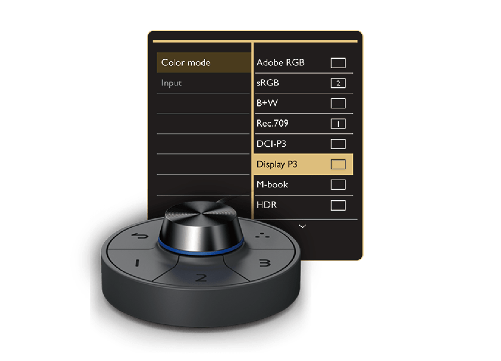 using hotkey puck g2 of benq photographer monitor to access preferred color modes and features using these preset shortcuts