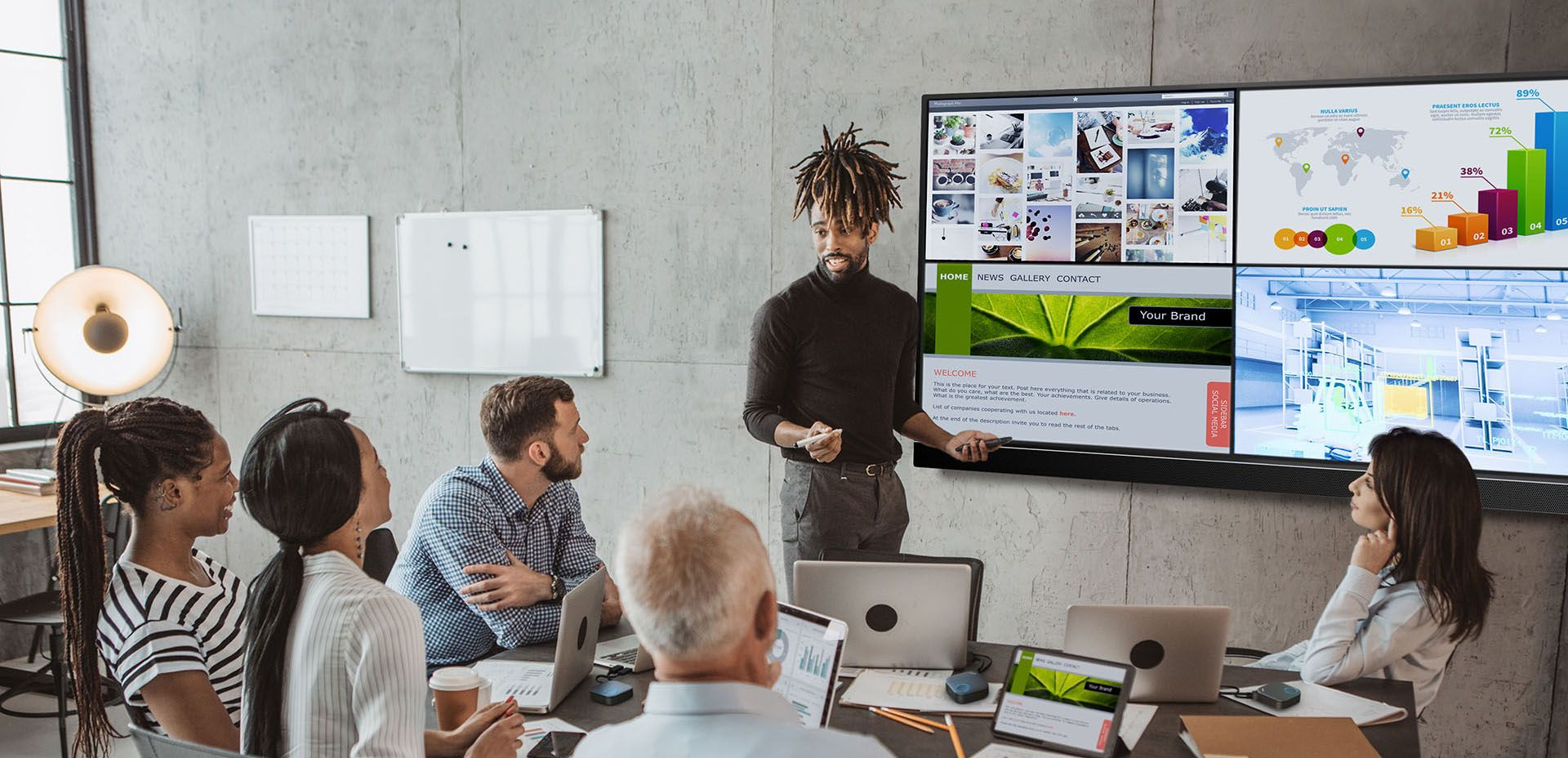 InstaShow makes it possible to use one monitor to share / present multiple ideas at the same time. It's especially suitable for brainstorming and group discussions.