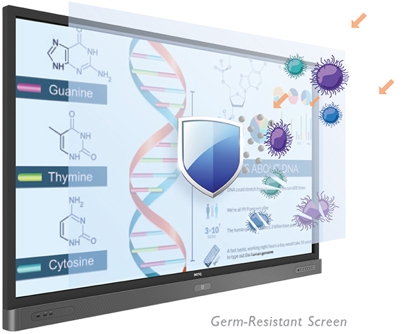 A germ-resistant screen prevents the transmission of illness-causing bacteria.