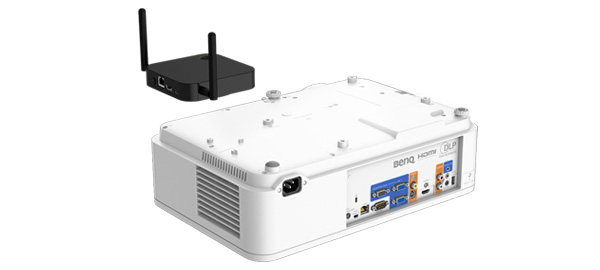 BenQ LH720 1080P BlueCore Laser Projector has a designated space for InstaShowTM, which makes combining the two devices easy and results in a streamlined appearance.